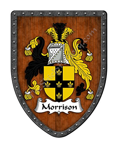 Morrison Family Crest Custom Coat of Arms , Family Ancestry and Heritage Hanging Metal Shield - Hand Made in the USA
