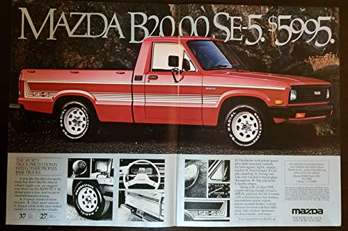 """Magazine Print Ad: Red 1984 Mazda B2000 SE-5 Pickup Truck, 5995""""The Sporty Truck Priced Down With Other Peoples Base Trucks"""", 2 pages"""