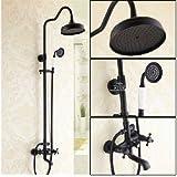 Rozin Wall Mounted Bathroom Oil Rubbed Bronze Tub Mixer Tap Dual Handles Mixer Tap