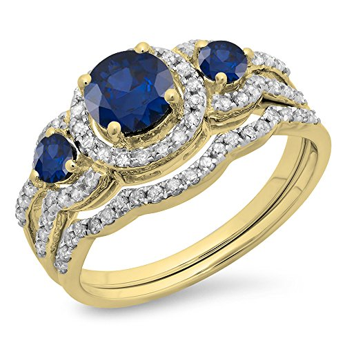 3 Stone Blue Sapphire Ring - 9