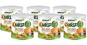Sprout Organic Baby Food, Sprout Organic Curlz Toddler Snacks, Sweet Potato & Cinnamon, 1.48 Ounce Canister (Pack of 6), Plant Powered, Gluten Free, USDA Certified Organic, Nothing Artificial