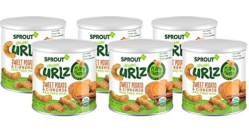 Sprout Organic Baby Food, Sprout Organic Curlz Toddler Snacks, Sweet Potato & Cinnamon, 1.48 Ounce Canister (Pack of 6), Plant Powered, Gluten Free, USDA Certified Organic, Nothing Artificial (Organic Sweet Certified)