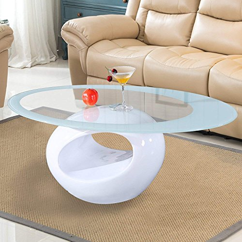 (Mecor Glass Coffee Table with Round Hollow Shelf-Modern Oval Design End Side Coffee Table with Tempered Clear Glass Top Gloss White-Living Room Furniture)