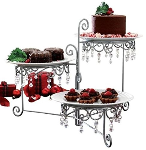 Pretty Serving Tray Dessert Appetizer Buffet Table 3 Tier Swivel Beaded Stand