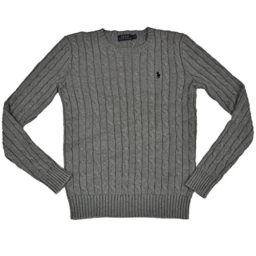 RALPH LAUREN Women's Cable Knit Crew Neck Sweater (Fawn Grey, Large)