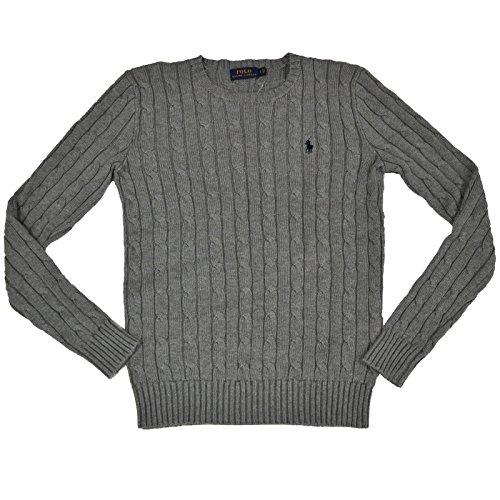 RALPH LAUREN Women's Cable Knit Crew Neck Sweater (Fawn Grey, Large) - Lauren Ralph Lauren Cable