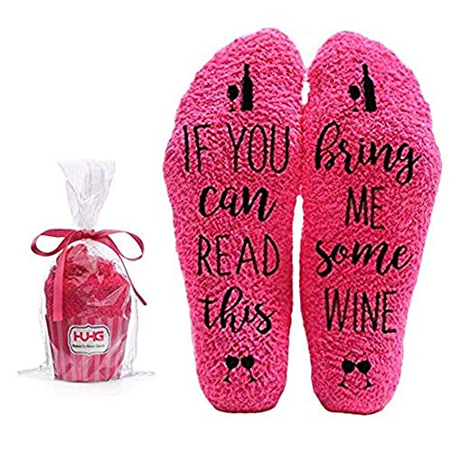 Bring Me Wine Fuzzy Pink Socks - Novelty Cupcake Packaging...