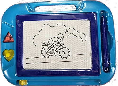 T'T Bear Magnetic Drawing Board, Sketch board. Etch with pen or 2 Included Stampers. Erases Fully with Sliding (Blue - Purple)