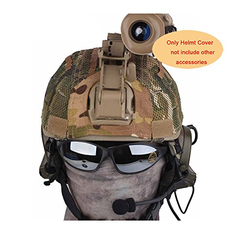 H World Shopping Tactical Military Airsoft Hunting Helmet Cover W/ Back Pouch for MICH 2001 Multicam MC Net (2001 Mich Airsoft Helmet)