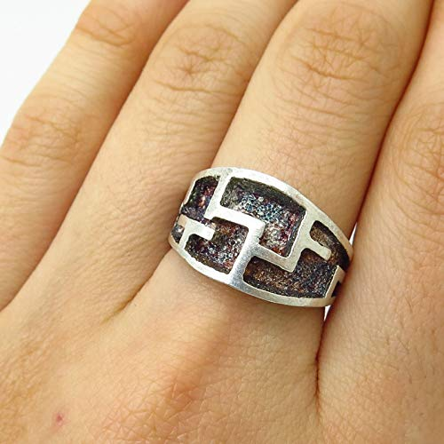 (VTG Israel 925 Sterling Silver Maze/Labyrinth Design Wide Ring Size 7 1/4 Jewelry by Wholesale Charms)