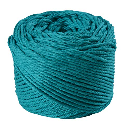 (Green, 4mm x 100m(About 109 yd)) Handmade Decorations Natural Cotton Bohemia Macrame DIY Wall Hanging Plant Hanger Craft Making Knitting Cord Rope Green Color Macramé Cord