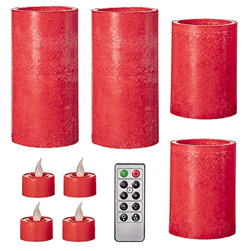 Darice Battery-Operated LED Candle Set: Mottled Red, Unscented, Remote Included, 9 Pieces