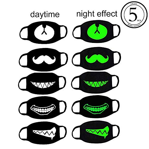 Hanjoy 5 Pack Cool Luminous Unisex Teeth Pattern Cotton Blend Anti Dust Face Mouth Mask Black for Birthday Party, Rave and Club and Masquerade Ball-Green Glow