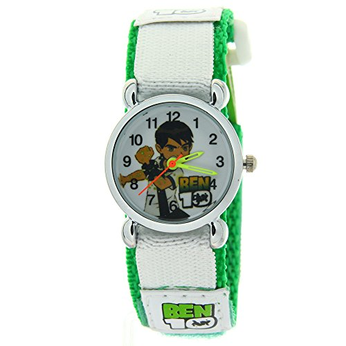 (Ben 10 Alien Force Pattern Kids Chirdren Student Green Nylon Sticker Strap Analog Quartz Watches)