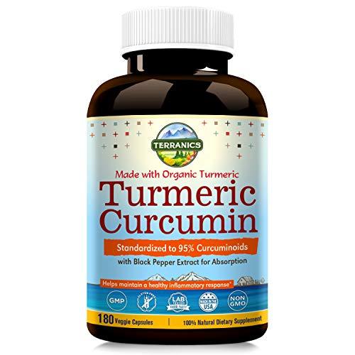 Turmeric Curcumin with Bioperine, 95% Standardized Curcuminoids 1950mg, 180 Veggie Capsules, Anti-Inflammatory, Antioxidant, Joint Paint Relief NON-GMO, Soy, Dairy & Gluten Free