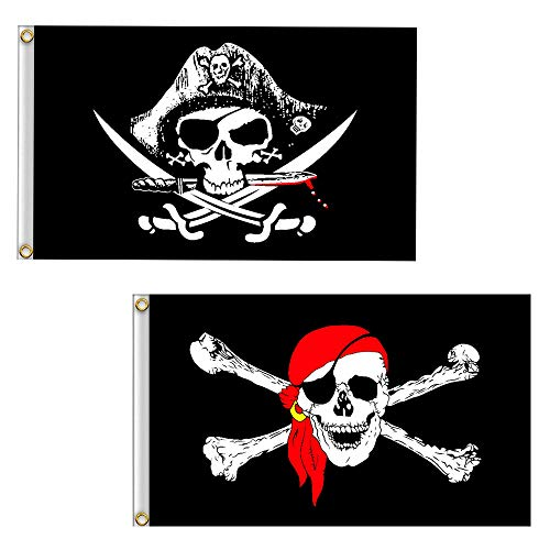 (Vlalin Pirate Flag, 2' x 3' 2 PCS Skull and Crossbones Jolly Roger Flag for Outdoor)