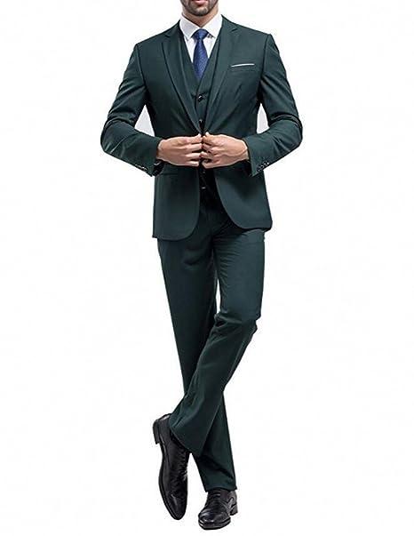 Amazon.com: botong Verde Boda Trajes novio tuxedos 3 piezas ...