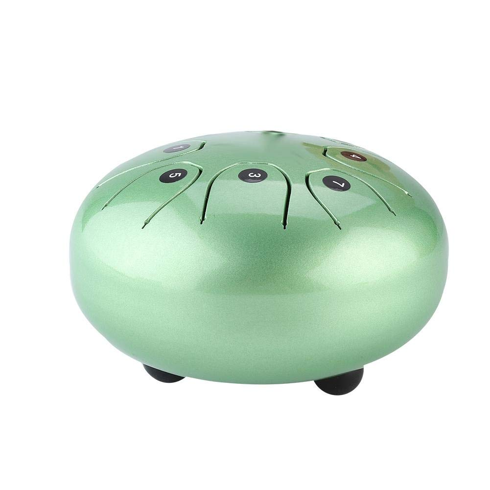 Tongue Drum, Steel 5.5 In Percussion Instrument Hand Pan Drum with Drum Mallets Carry Bags(Green)