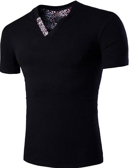 16ffe57f4cd21 Amazon.com: Fensajomon Mens Casual Cotton V Neck Printed Short ...
