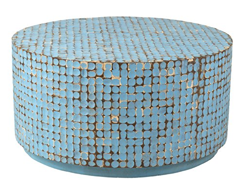 East at Main Cummings Coconut Shell Inlay Round Coffee Ta...