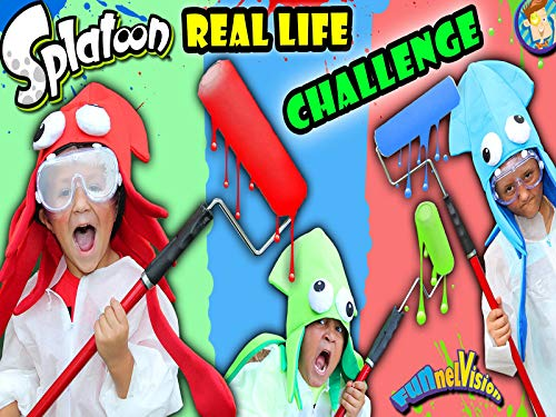 (Real Life Splatoon Challenge! Three Minute Splat Roller Battle With Paint Balloons)