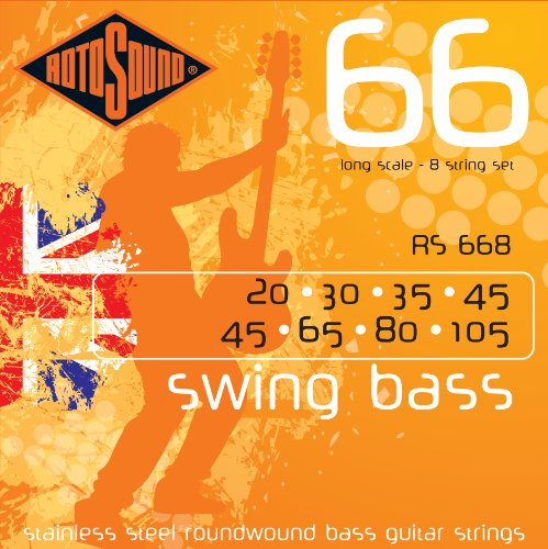 Rotosound RS668 Swing Bass 66 Stainless Steel 8 String Bass Guitar Strings (20 30 35 45 45 65 80 105)