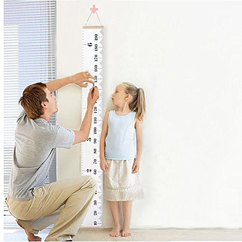 Leekida Kids Baby Height Growth Chart-Roll Up Wood Frame Fabric Hanging Ruler Children Nursery Room Wall Decor Baby Shower Gift, 79