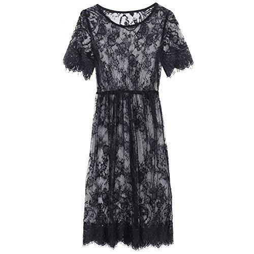 robe - SODIAL(R)Femme Sexy Dentelle Floral Cardigan Tunique Manches Courtes Blouse Longues Robe de plage Noir L