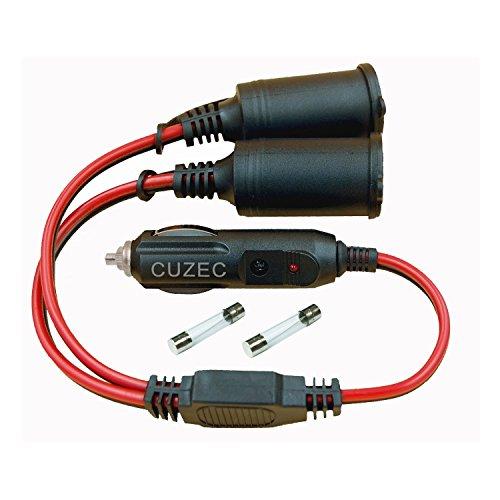 CUZEC 1 to 2 Car Cigarette Lighter 16 AWG Cord 12v / 24v Car Cigarette Lighter Splitter, Power Charger Adapter 2-Way Waterproof Socket Splitter