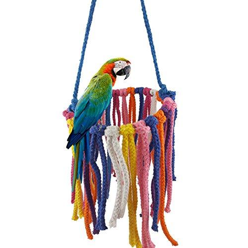 gLoaSublim Bird Toys, Colorful Pet Bird Toy Parrot Chew Hanging Swing Rope Cockatiel Cage Nest Decor - Random -