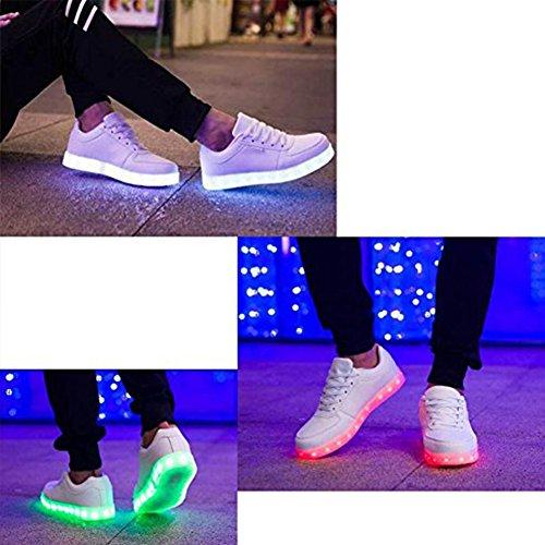 Frauen 7 Farben leuchten USB Aufladen LED Schuhe Walking Sneakers Weiß