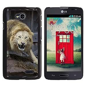 TECHCASE**Cubierta de la caja de protección la piel dura para el ** LG Optimus L70 / LS620 / D325 / MS323 ** Angry Fight Lion Nature Animal King