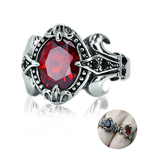 Male Stainless Steel Vintage Retro Ring with Oval Red/Black Cubic Zirconia Punk Biker Ring Eye-Catching Ring (Red, 8)