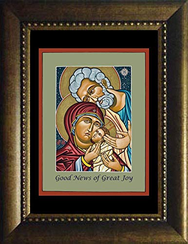 Holy Family Bronze - Trinity Stores Desk Framed Religious Art Print - Bronze 7x9 - Christmas Holy Family by Lewis Williams, OFS