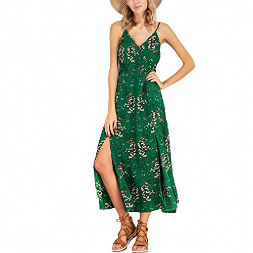 Floral Print Spaghetti Strap Maxi Dress Backless Beach Long Dress Women V Neck Sleeveless Boho Summer Dress (Ruffle Muumuu)