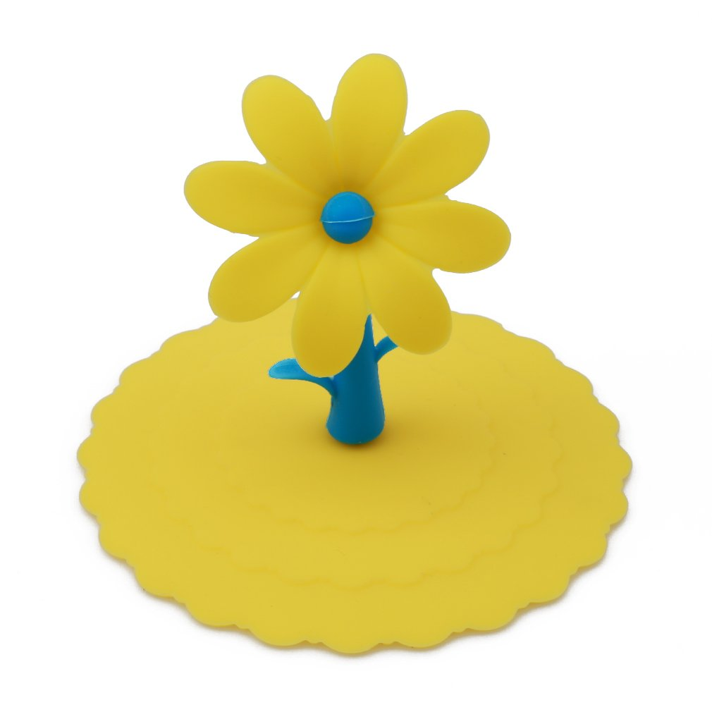 HENGSONG Silicone Anti-Dust Cup Lids with Cute Flower Handle Seal / Leak Proof Cover for Cups, Mug & Glass (Yellow) mei_mei9