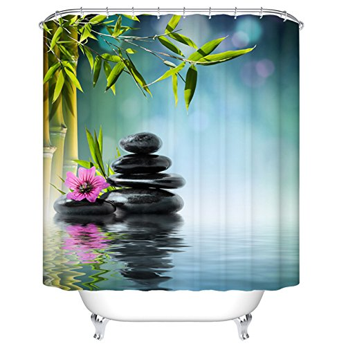 Water waves on the stone and bamboo ildew Resistant Waterproof Fabric Polyester Shower Curtains Liner 72 x 72 Inch (Blue)