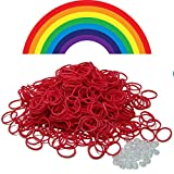 Brand New Bag of 600 Loom Rubber Bands Refill & 25 S-Clips- All RED