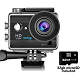 Indigi ActionCAM-32gb-02 HD Recording WiFi Enabled, Accessories Included, 32GB Micro SD, Sports & Action Video Camera, 1.5, Black