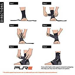Ankle Support Brace – Compression Sleeve with Adjustable Strap for Perfect Fit – Great for Running, Ankle Sprains (S/M, Black)
