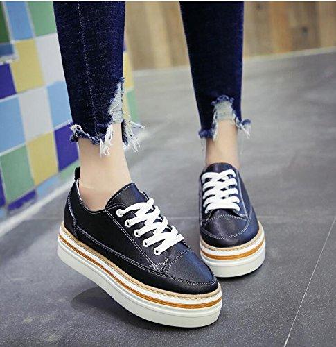 KHSKX-Schwarze Frauen Neue Herbst 4 5Cm Dick Einzelne Schuhe Koreanische Version Von Ms Und Vielseitige Freizeitschuhe Student Schuhe Um 38