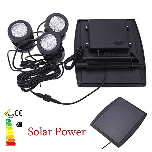 [Hight quality 18 LEDs Solar Spotlights with Solar panel 3 RGB Lawn Solar Lamps Garden Pool Pond Yard Lights Outdoor Spot Light] (Water Meter Costume)