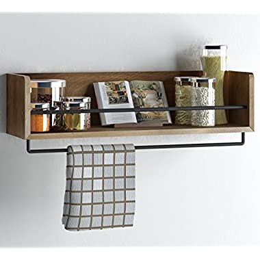 Rustic Kitchen Wood Wall Shelf with Metal Rail Also Multi Use Can Be Used As a Spice Rack Living Room or Bedroom Wall Shelf , Walnut Stained (24, Walnut)