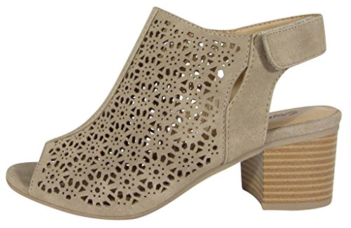 City Classified Footwear Women's Caged Geometric Laser Cut Out Peep Toe Slingback Chunky Stacked Heel Ankle Bootie (6 M US, Light Taupe Nbpu) -
