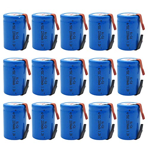 BAOBIAN 4/5 SubC Sub C Rechargeable Battery NiCd with Tabs 1.2V 2200mAh for Power Tools(15 Pcs) (Sub C Nicd Rechargeable Battery)