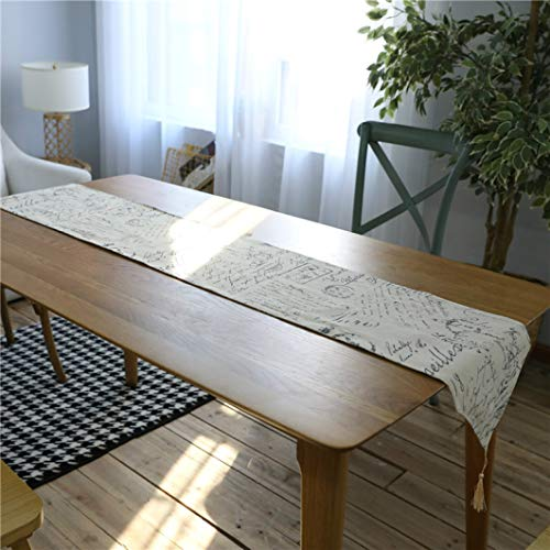 SYHK Coffee Table Runner for Living Room Hotel Wedding Party Decoration English Letter Print Tablecloth]()