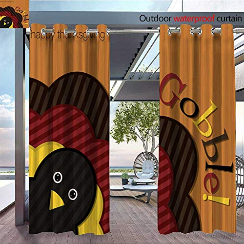 Exterior/Outside Curtains Hiding Turkey Corduroy Thanksgiving Card in Vector Format for Patio Light Block Heat Out Water Proof Drape W72 x L84/Pair