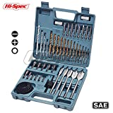Hi-Spec 47 Piece Multi Purpose Drill Bit Set Kit for Drilling Metal, Wood, Masonry & Plastic. With Driver Insert Bits, Hex Nuts, Hole Saws, Flat Wood Bits In a Professional Case