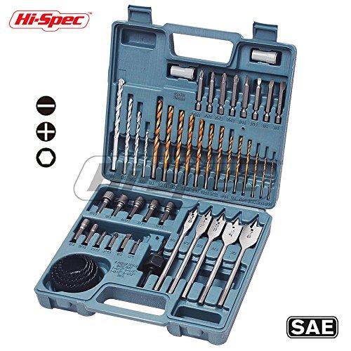 Twist Drill Kit - Hi-Spec 47 Piece Multi Purpose Drill Bit Set Kit for Drilling Metal, Wood, Masonry & Plastic. With Driver Insert Bits, Hex Nuts, Hole Saws, Flat Wood Bits In a Professional Case