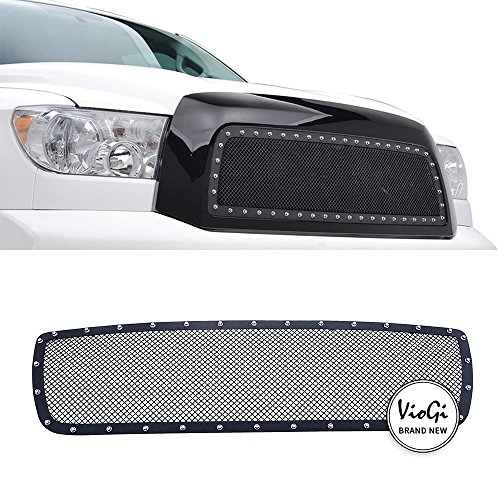Overlay Grille Steel - VIOJI New 1pc Overlay Main Upper Stainless Steel Black Powder Coated Billet Grille w/Hardware For 07-09 Toyota Tundra